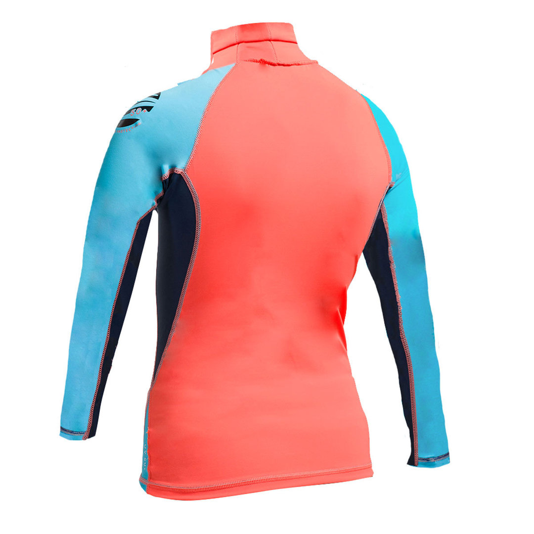 GUL - Girls Long Sleeve FL Rashvest Coral/Turquoise 2017-2018