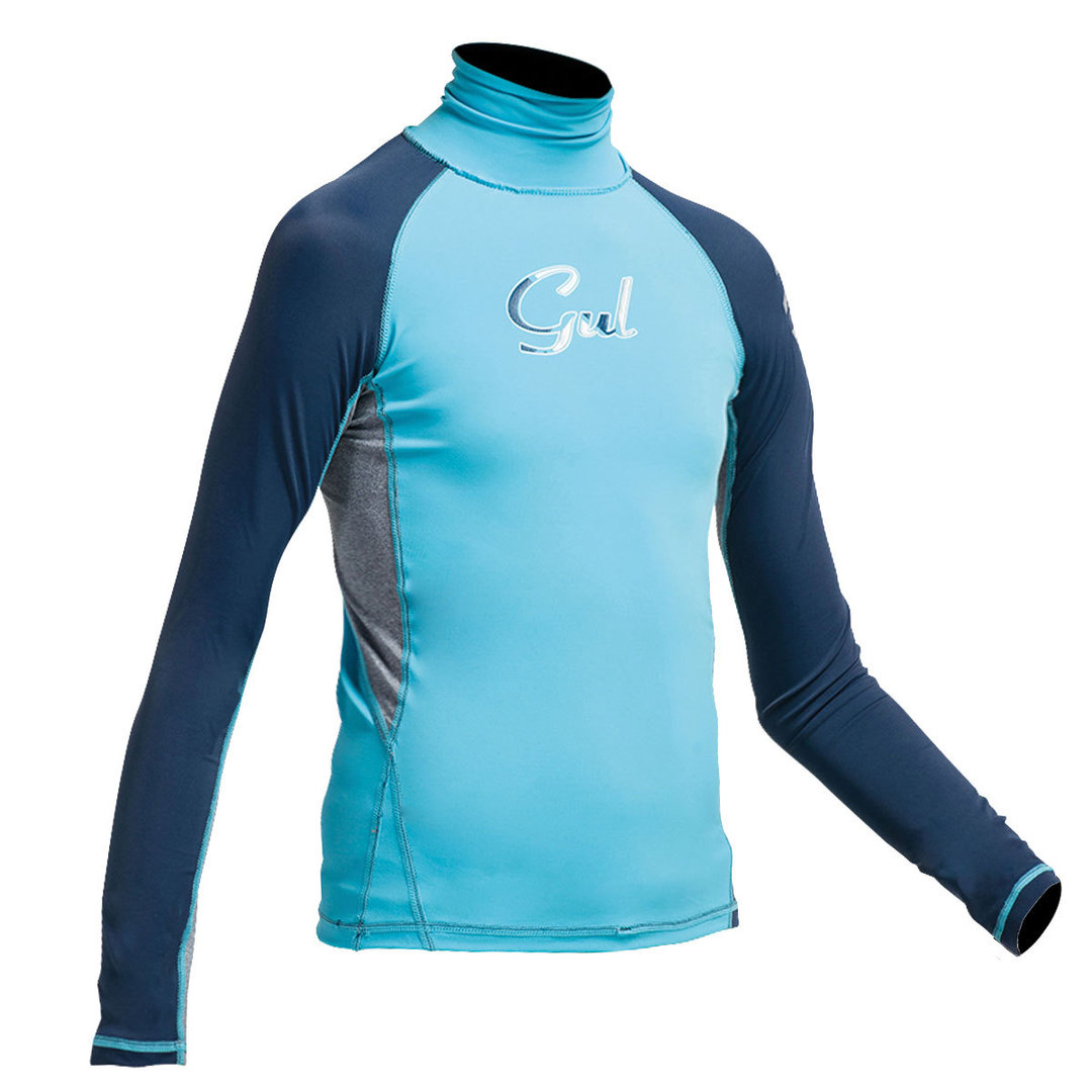 GUL - Girls Long Sleeve FL Rashvest Turquoise/Navy 2017-2018